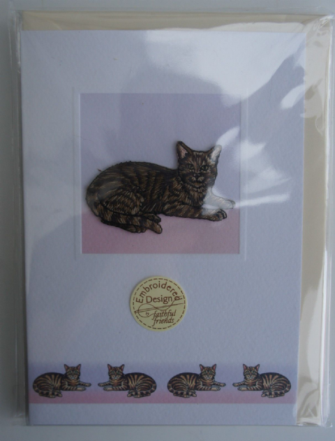 Tabby Cat card embroidered